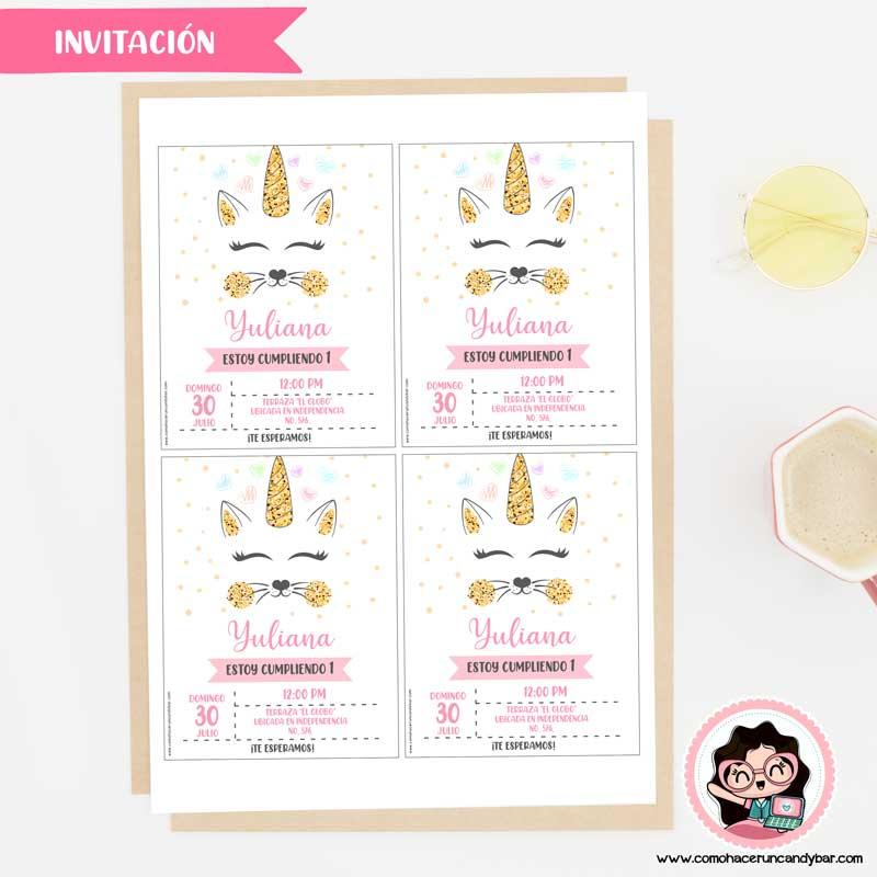 Invitación digital para imprimir gatito unicornio