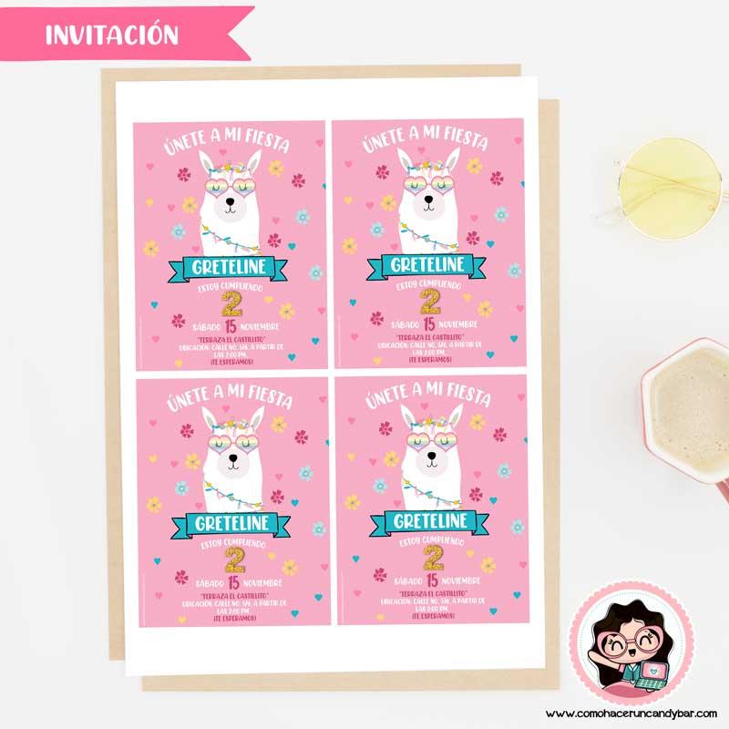 Invitación digital para imprimir Llama