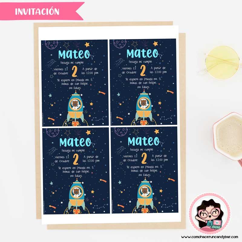 Invitación digital para imprimir nave espacial