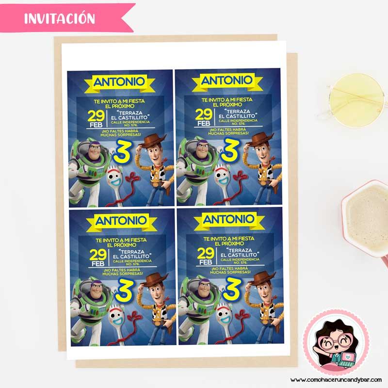 Invitación digital para imprimir toy story