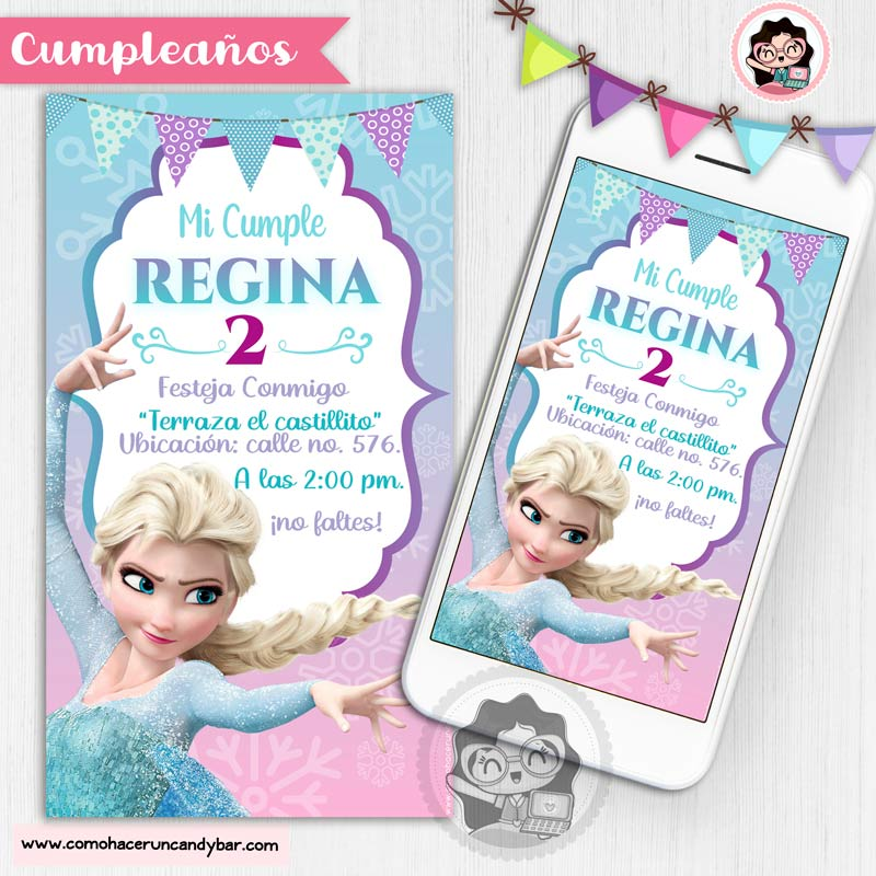 Invitación digital para WhatsApp de Cumpleaños frozen