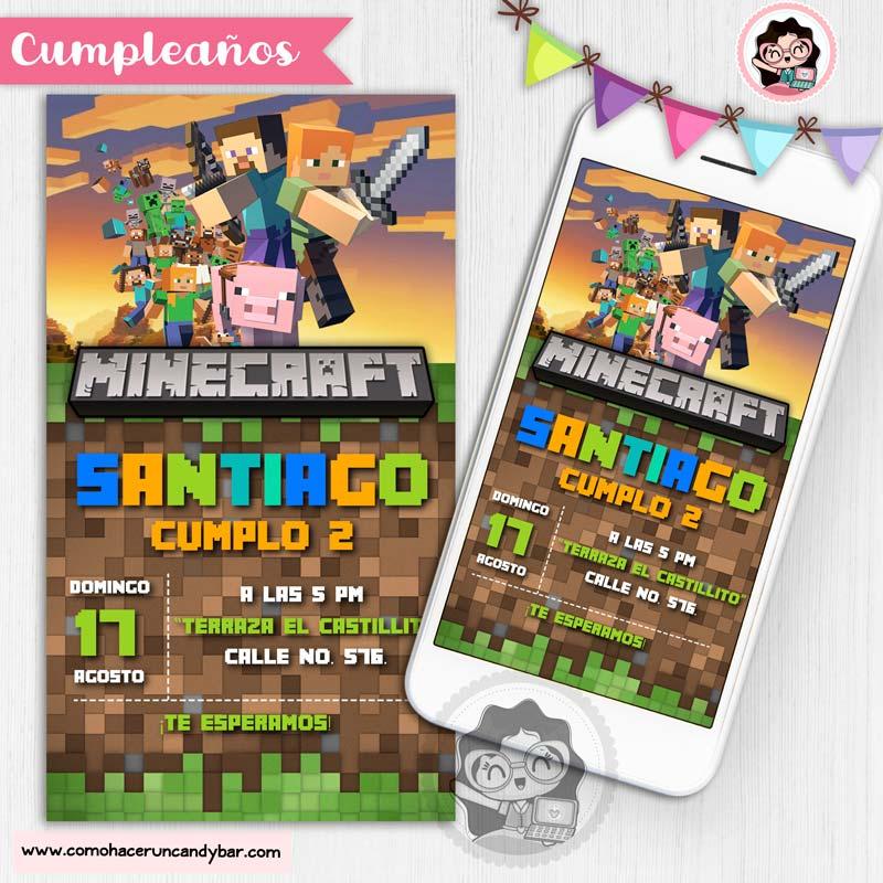 Invitación digital para WhatsApp de Cumpleaños minecraft
