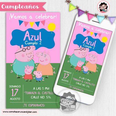 Invitación digital para WhatsApp de Cumpleaños peppa pig