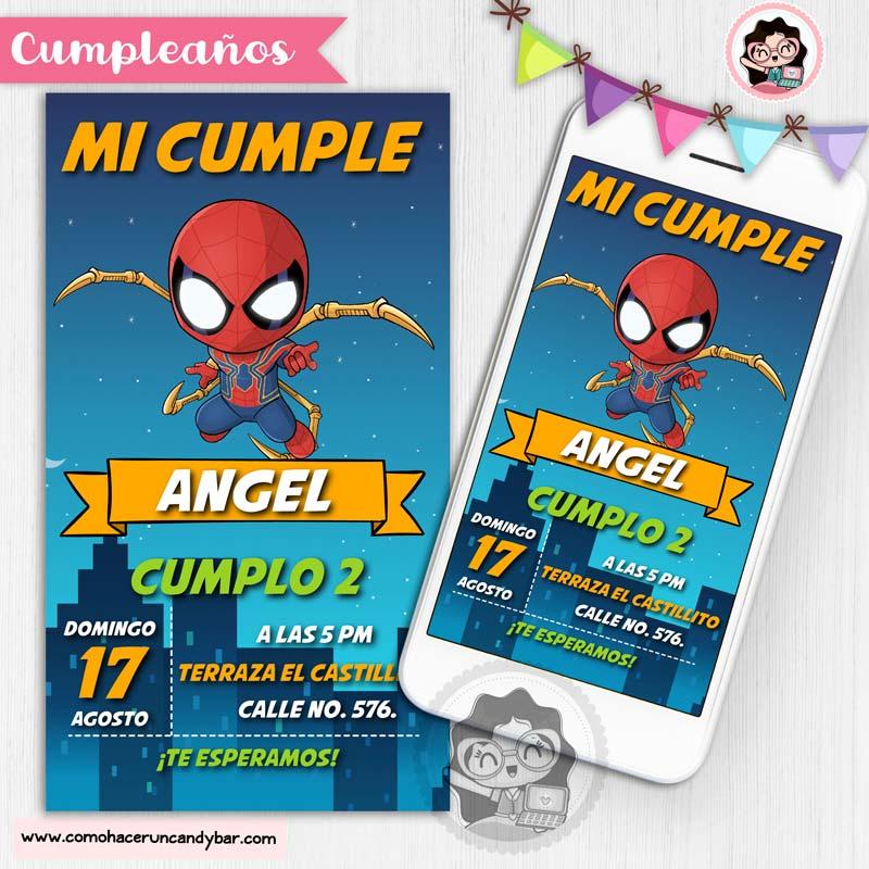 Invitación digital para WhatsApp de Cumpleaños Spiderman