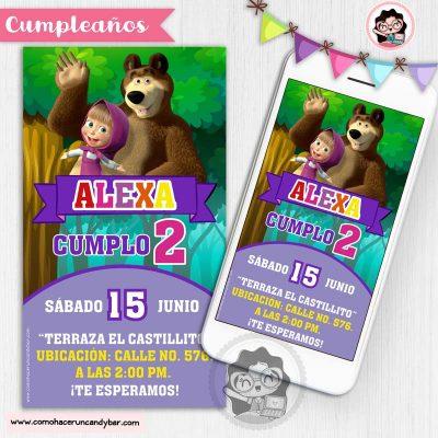 Invitación digital para WhatsApp de Cumpleaños masha y el oso